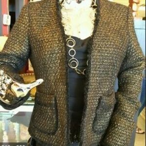 MIchael Kors Gold and Black Tweed Blazer -